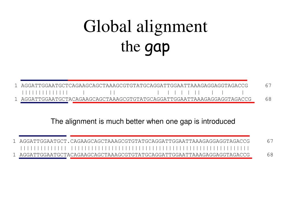 The alignment is much better when one gap is introduced