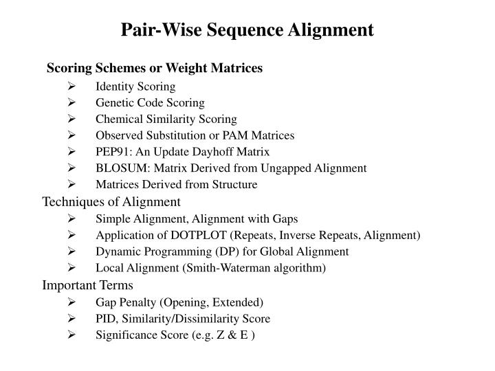 Pair wise sequence alignment