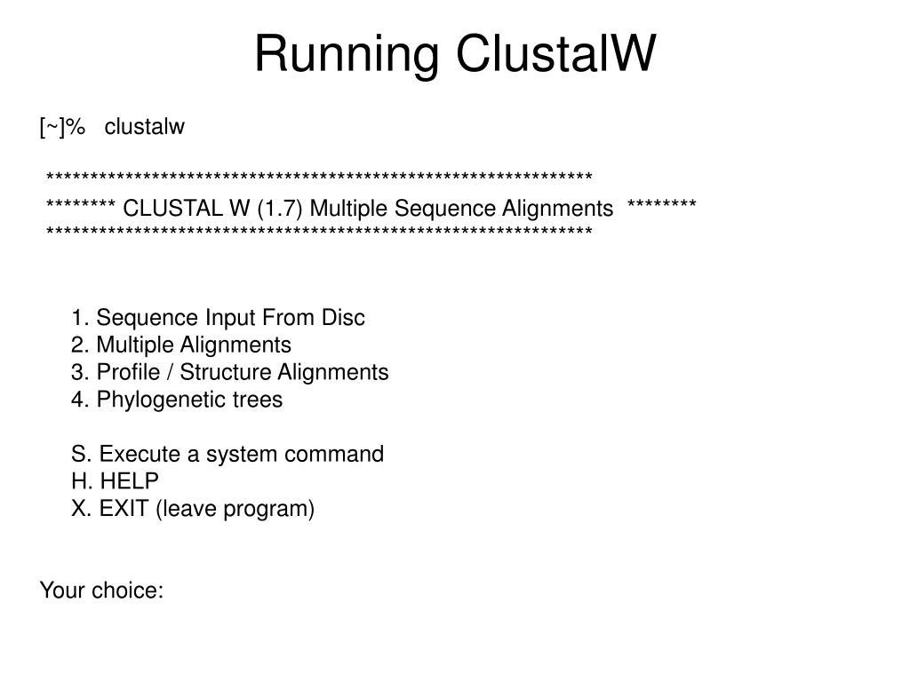 Running ClustalW