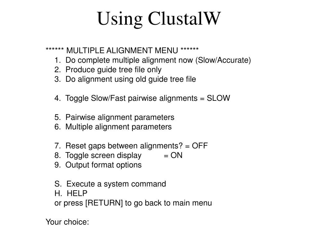 Using ClustalW