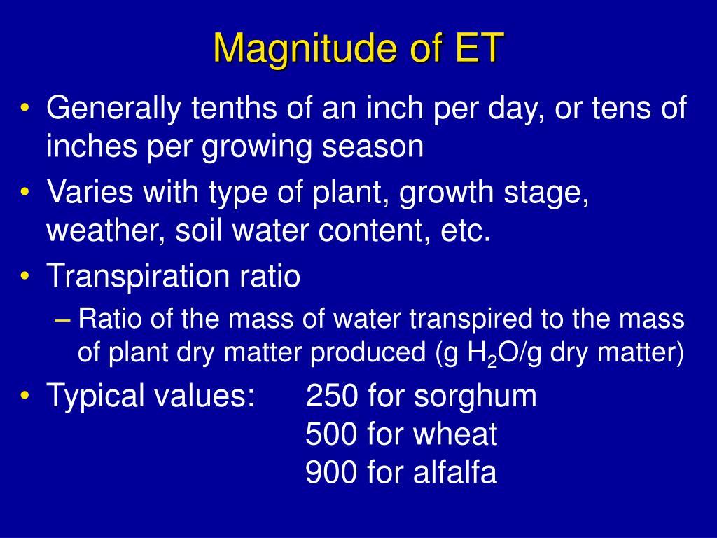 Magnitude of ET