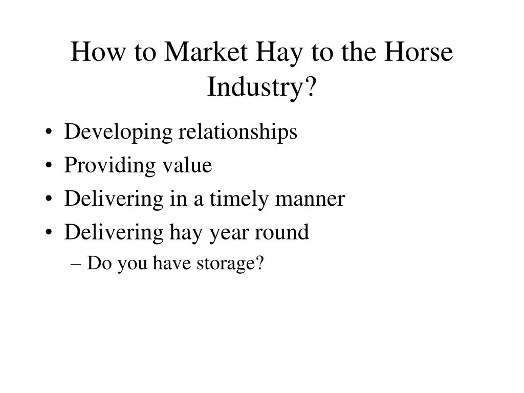 How to Market Hay to the Horse Industry?