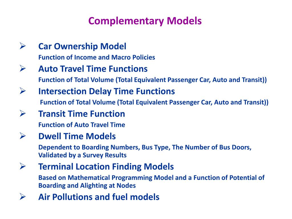 Complementary Models
