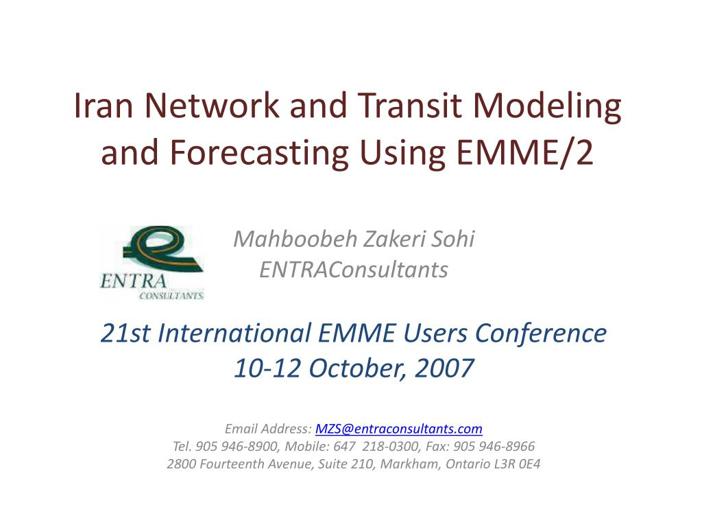 iran network and transit modeling and forecasting using emme 2