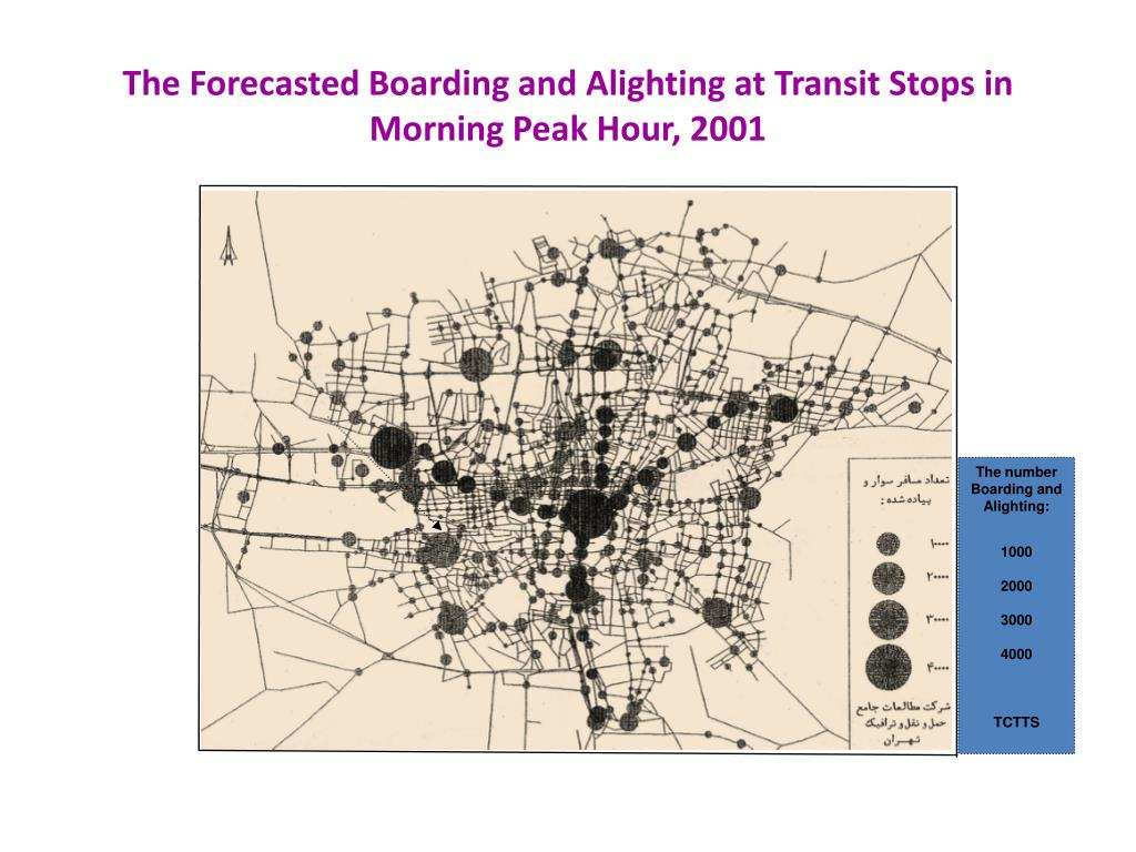 The Forecasted Boarding and Alighting at Transit Stops in Morning Peak Hour, 2001