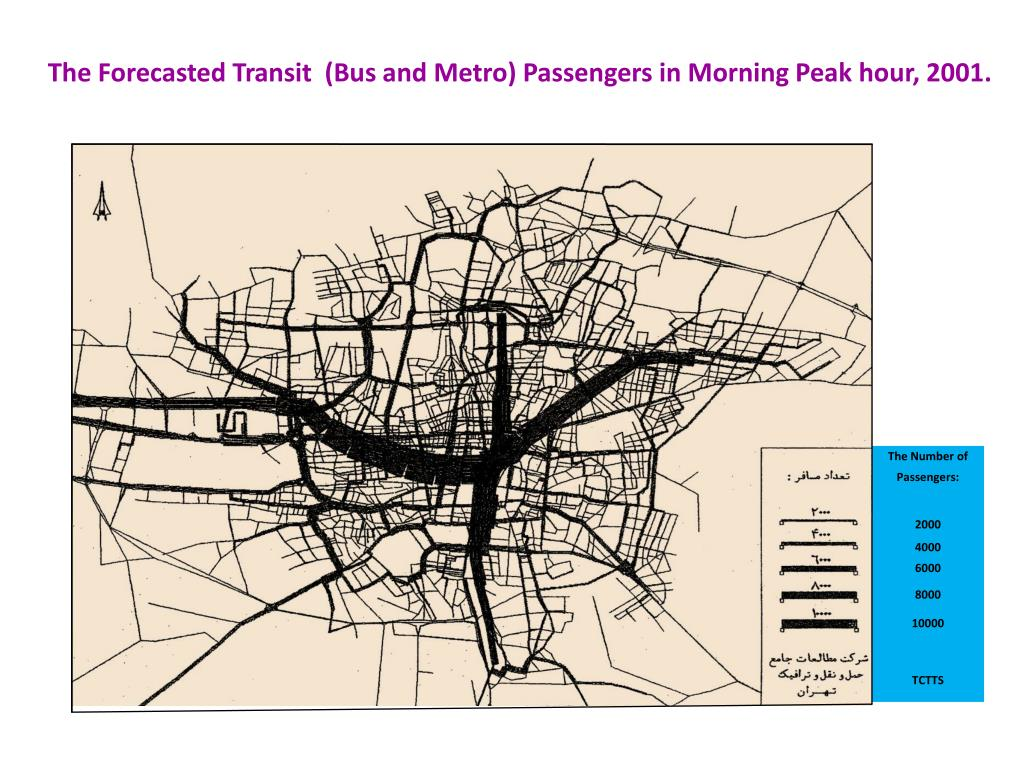 The Forecasted Transit  (Bus and Metro) Passengers in Morning Peak hour, 2001.