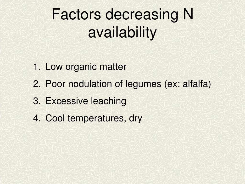 Factors decreasing N availability