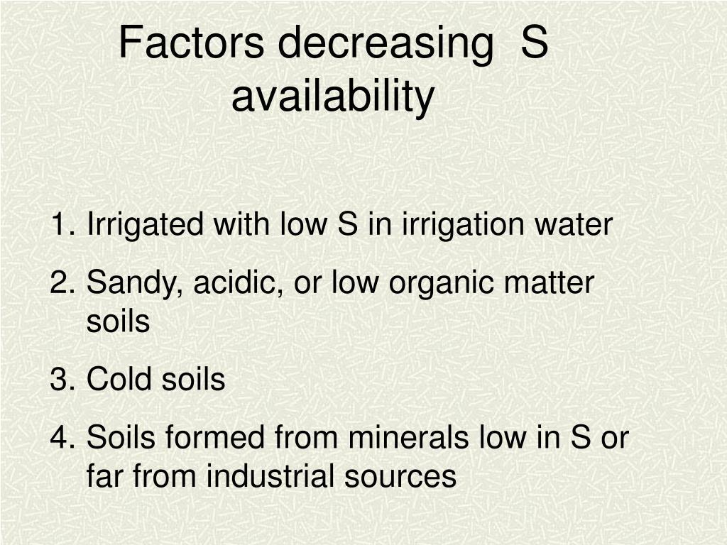 Factors decreasing  S availability