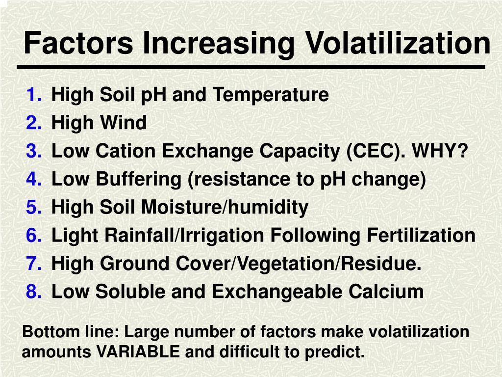 Factors Increasing Volatilization