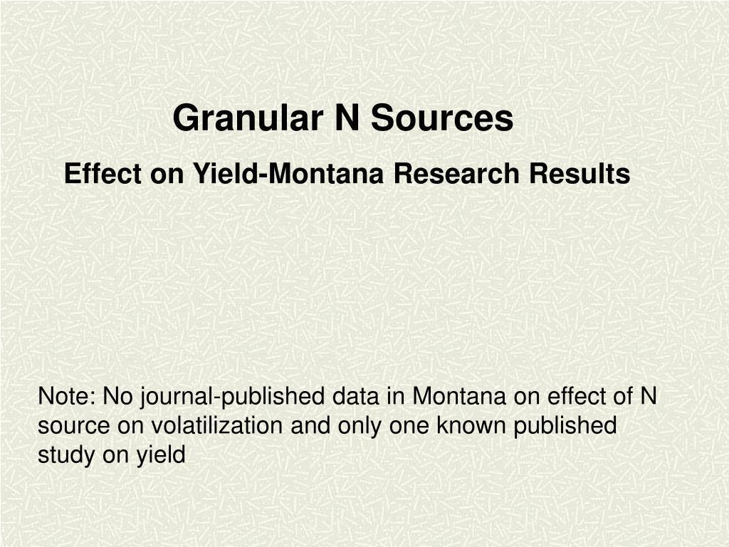 Granular N Sources
