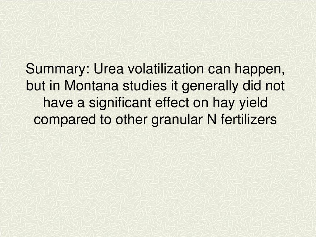 Summary: Urea volatilization can happen, but in Montana studies it generally did not have a significant effect on hay yield compared to other granular N fertilizers