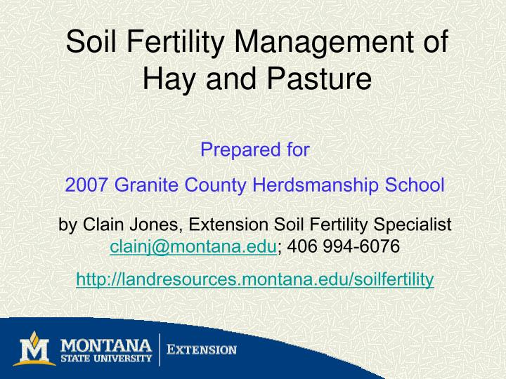 Soil fertility management of hay and pasture l.jpg