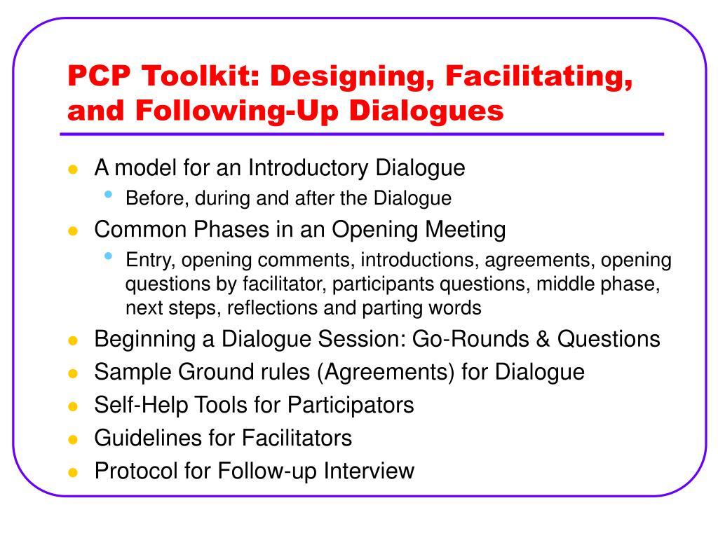 PCP Toolkit: Designing, Facilitating, and Following-Up Dialogues