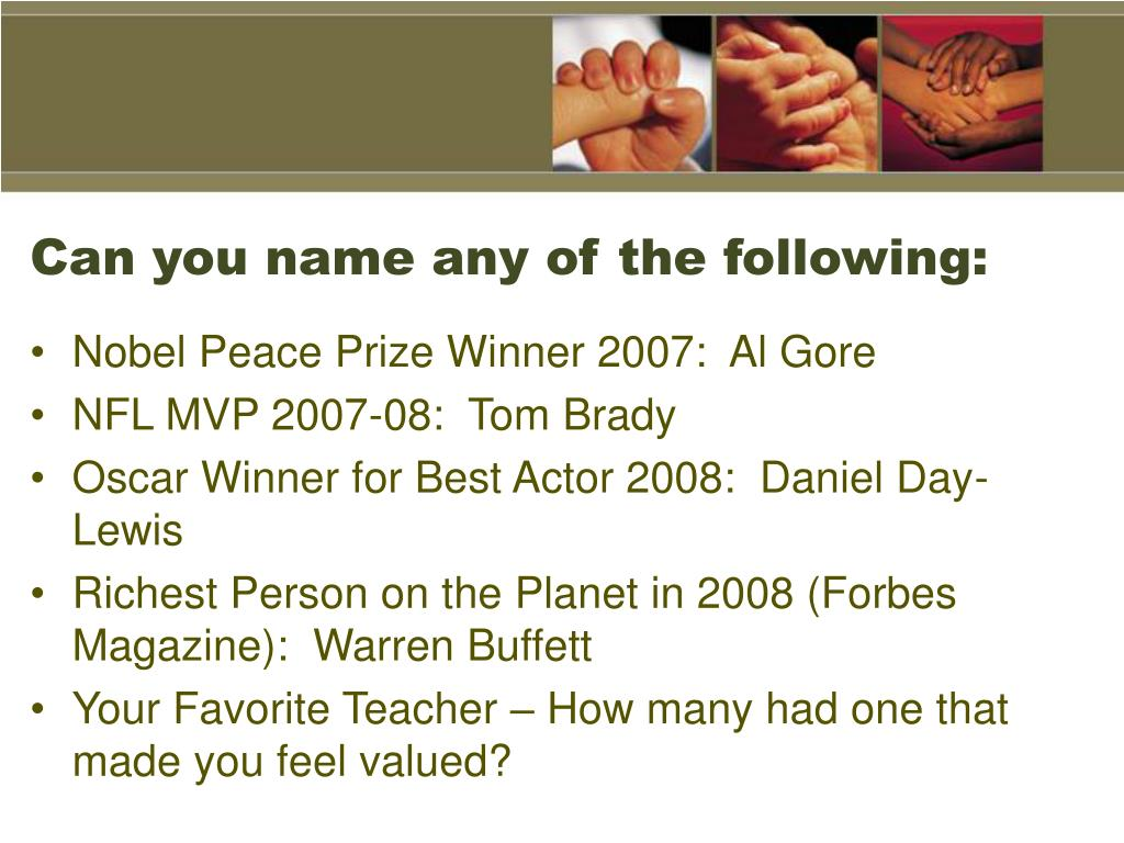 Can you name any of the following: