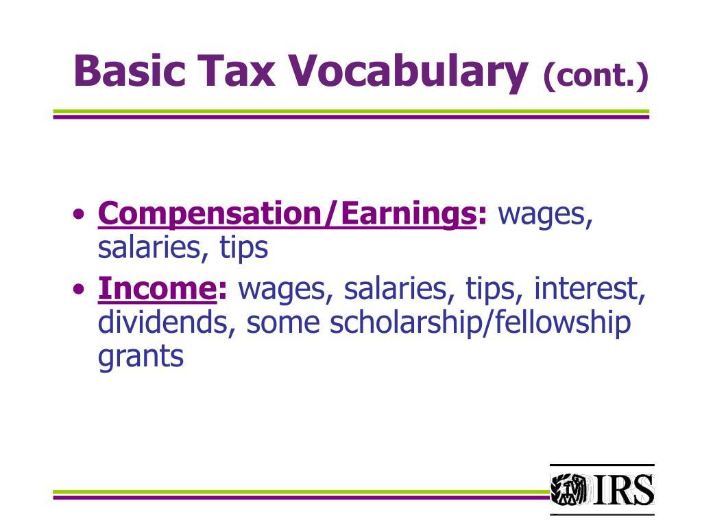 Basic Tax Vocabulary