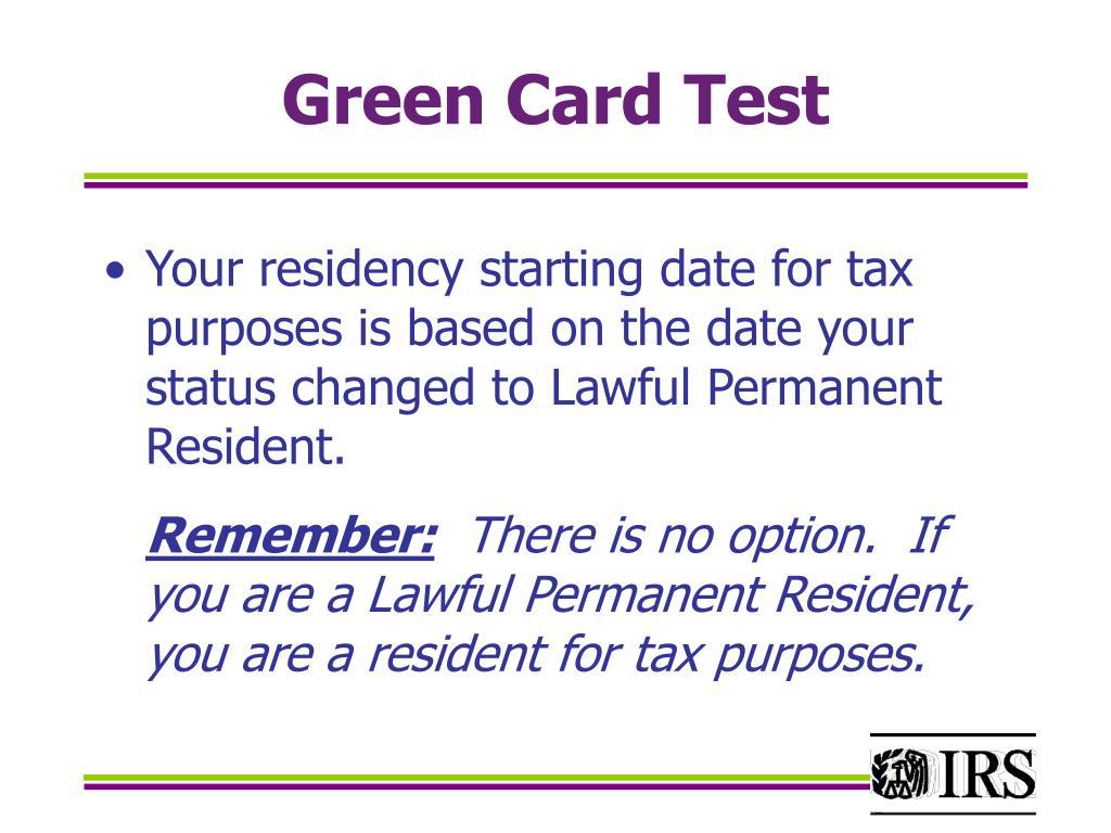 Green Card Test
