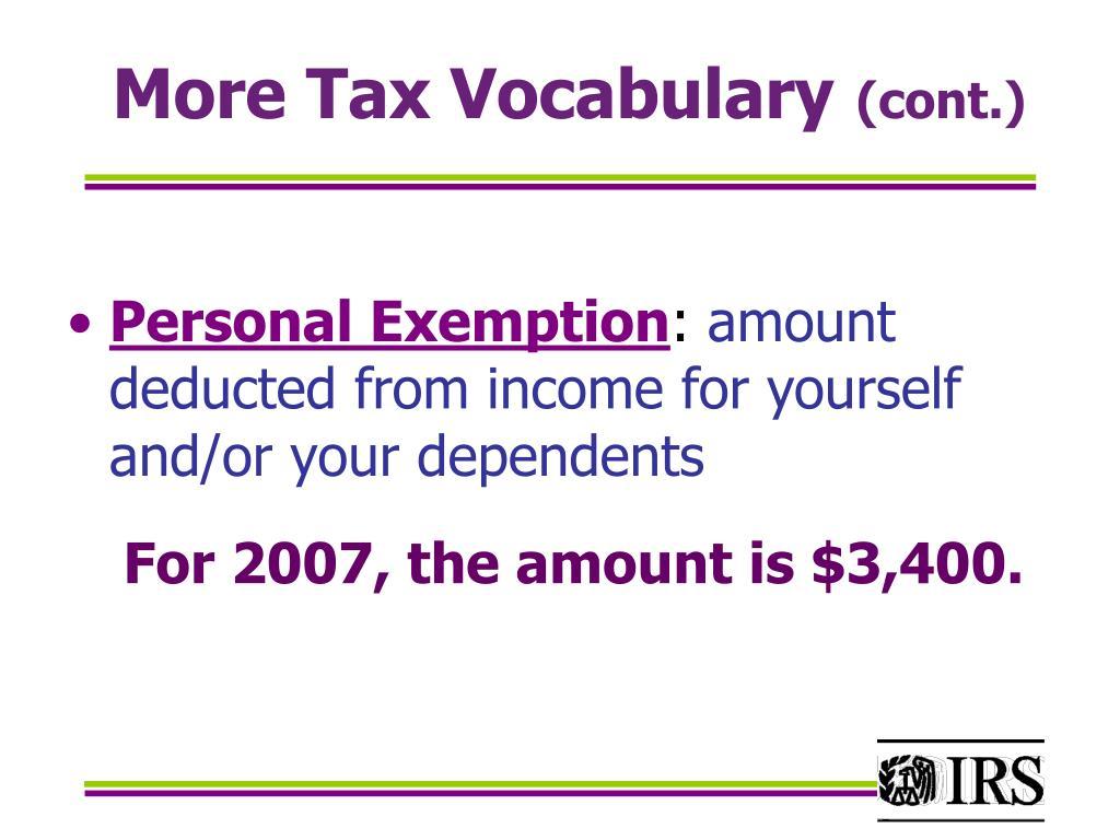 More Tax Vocabulary