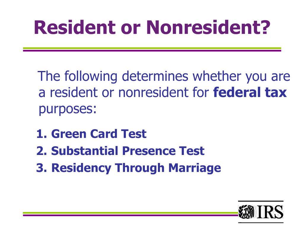 Resident or Nonresident?