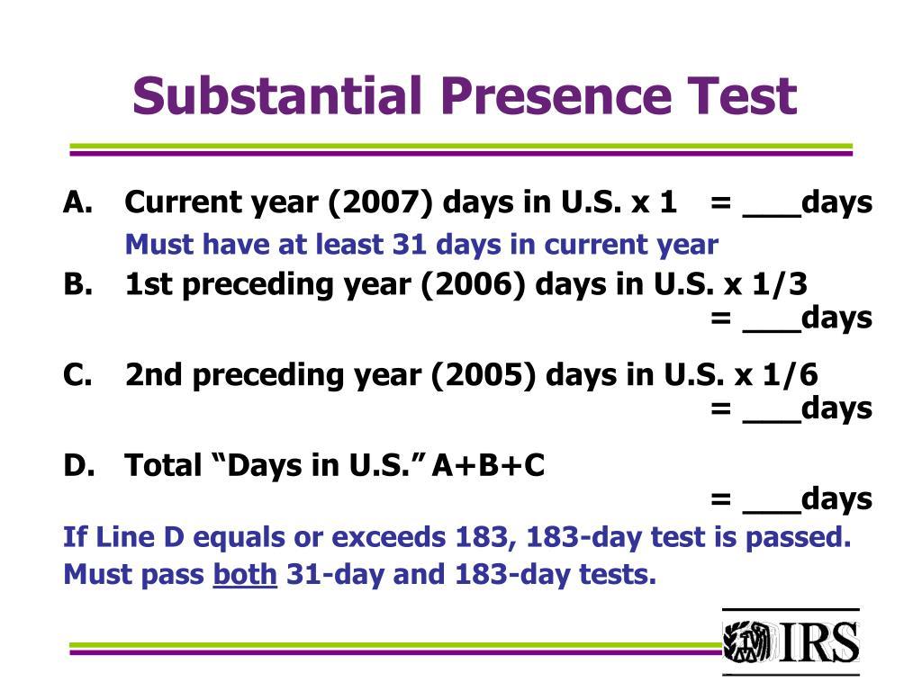 Substantial Presence Test