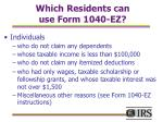 which residents can use form 1040 ez