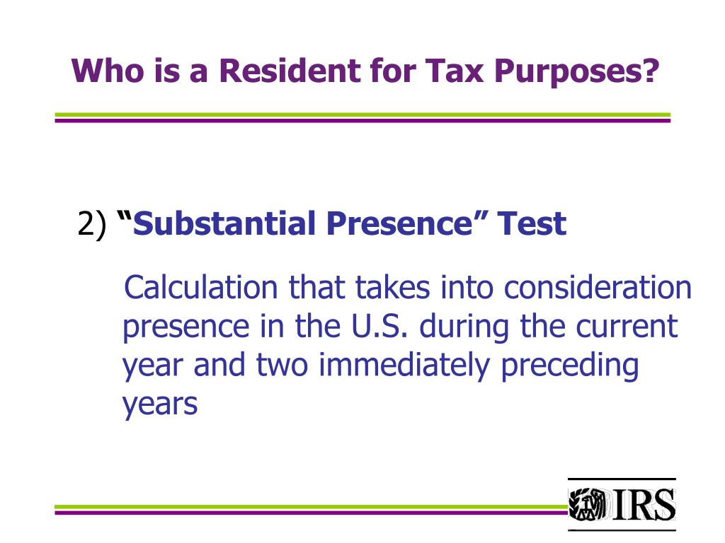 Who is a Resident for Tax Purposes?