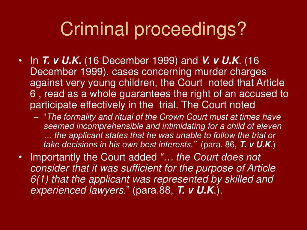Criminal proceedings?