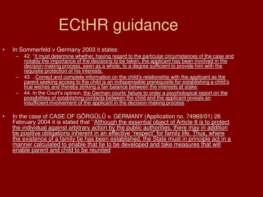ECtHR guidance