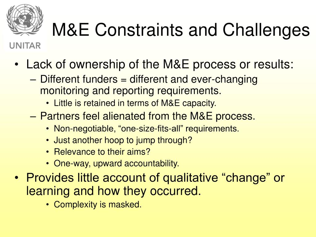 M&E Constraints and Challenges