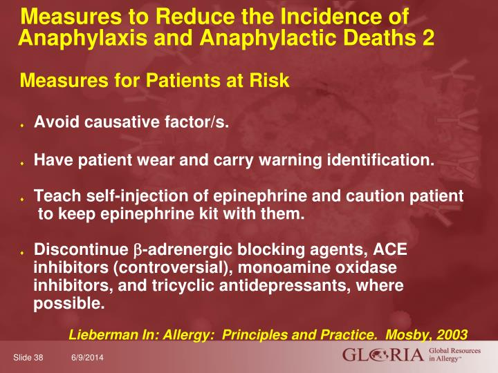 Measures to Reduce the Incidence of Anaphylaxis and Anaphylactic Deaths 2