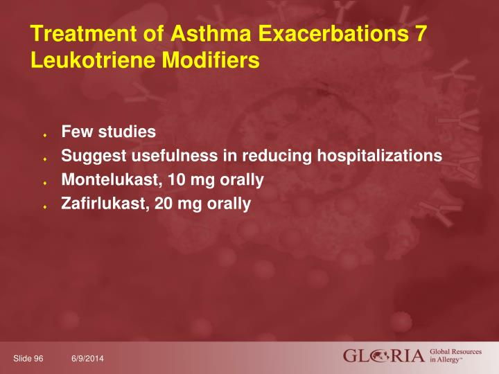 Treatment of Asthma Exacerbations 7 Leukotriene Modifiers