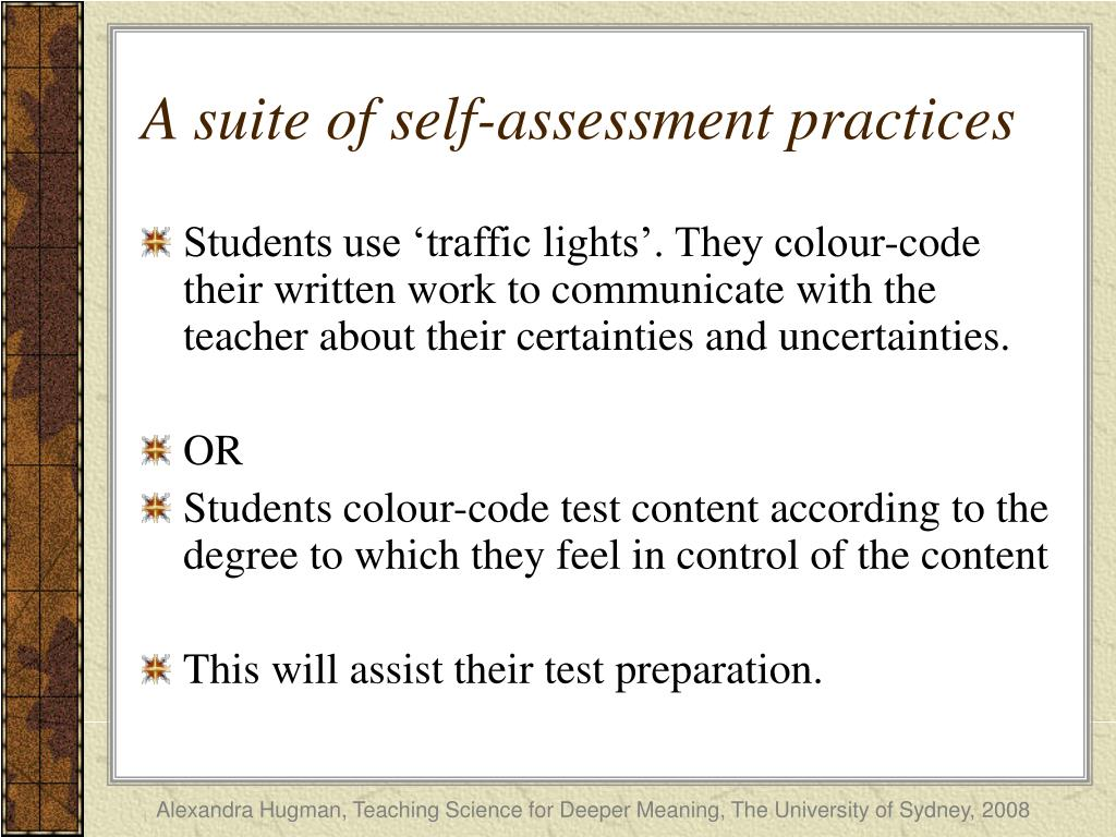 A suite of self-assessment practices