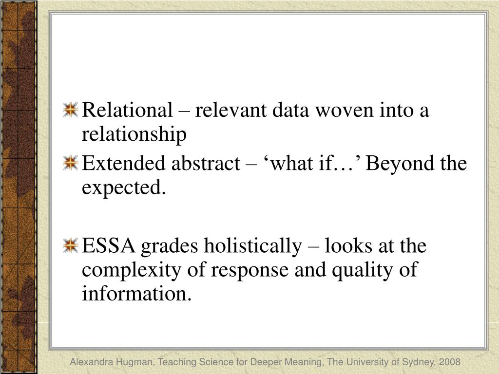 Relational – relevant data woven into a relationship