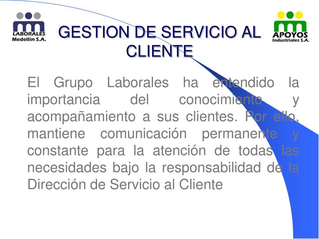 GESTION DE SERVICIO AL CLIENTE