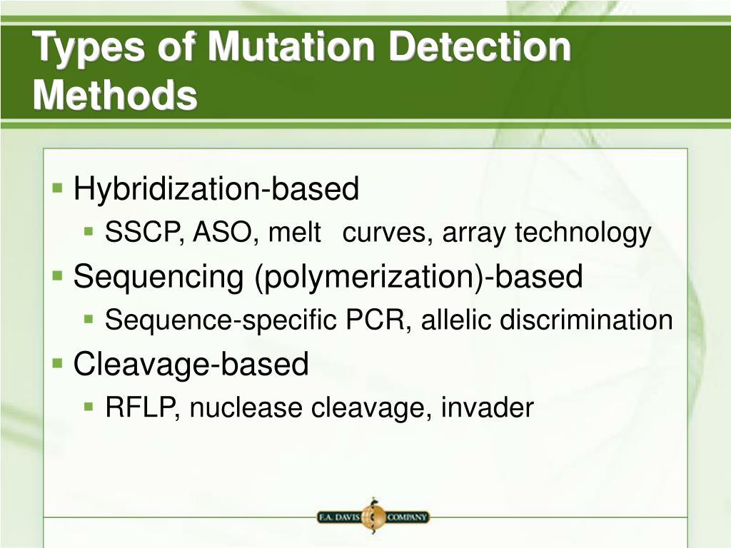 Types of Mutation Detection Methods