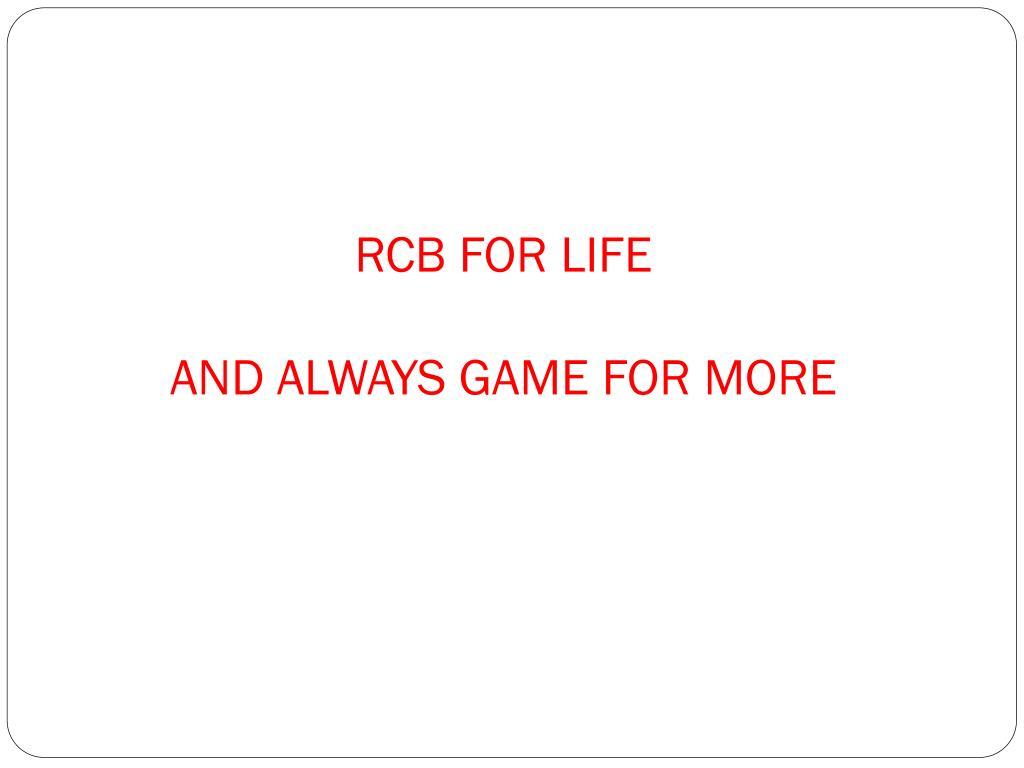 RCB FOR LIFE