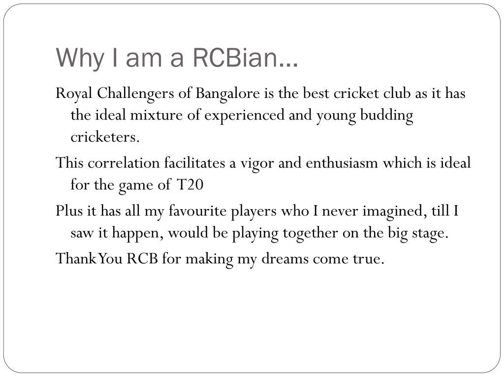 Why I am a RCBian…
