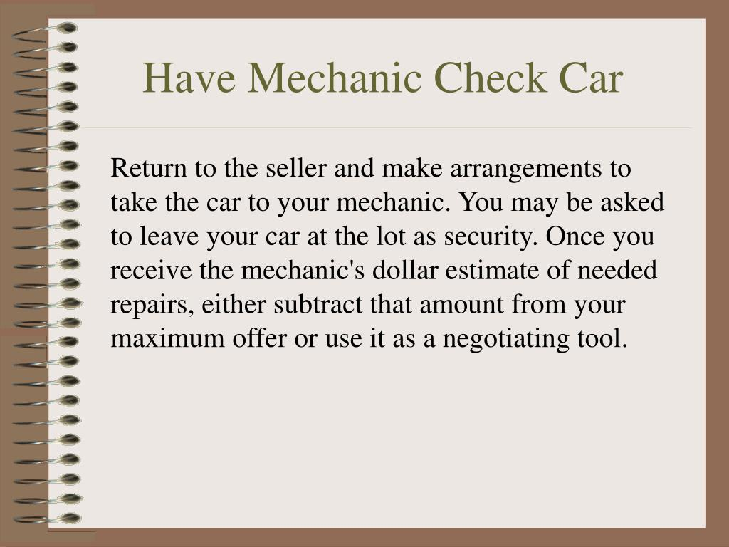 Have Mechanic Check Car