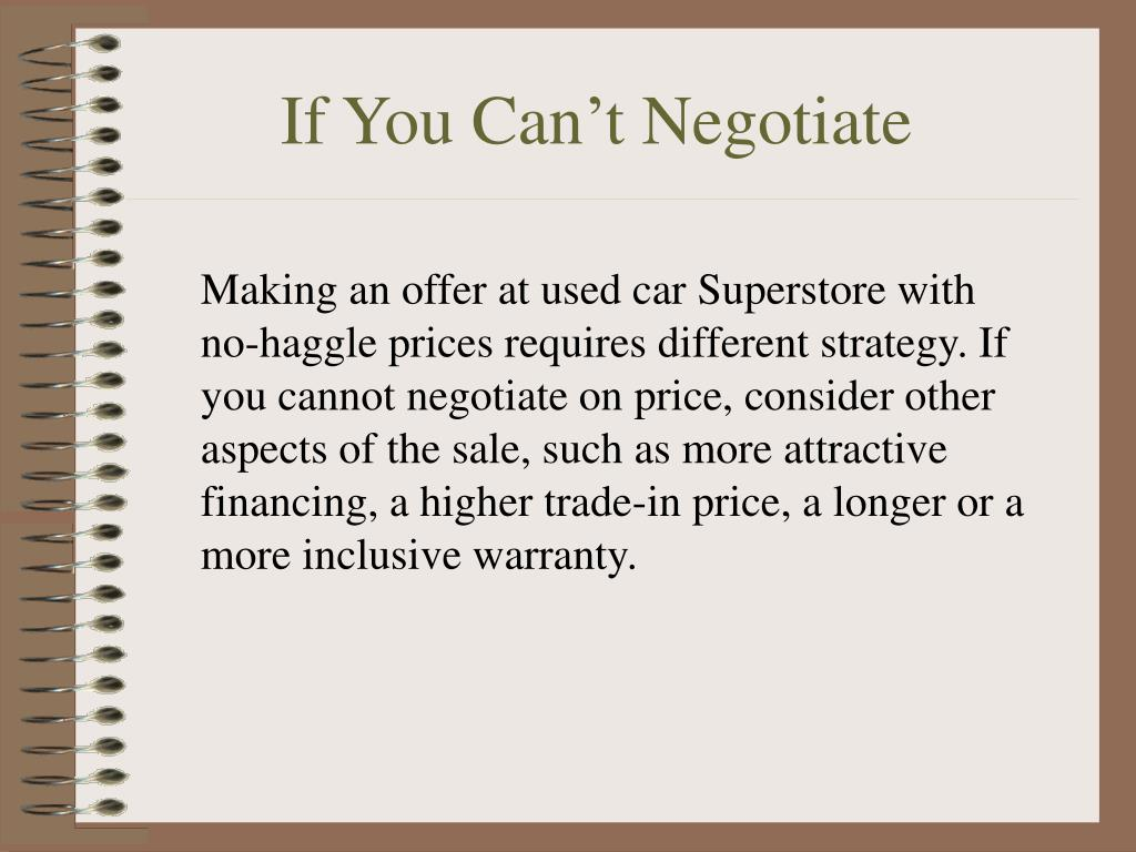 If You Can't Negotiate