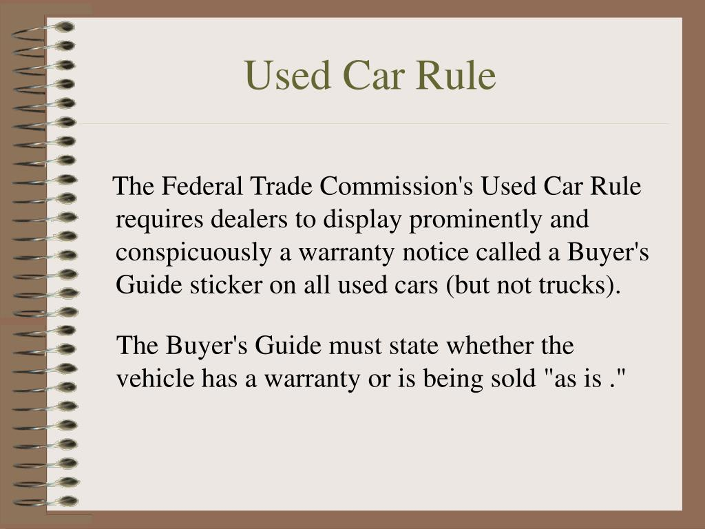 Used Car Rule