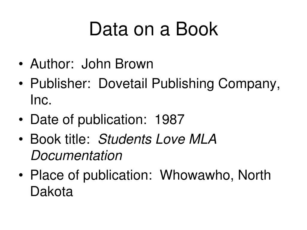 Data on a Book