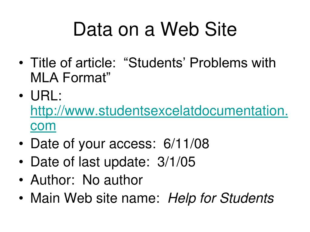 Data on a Web Site