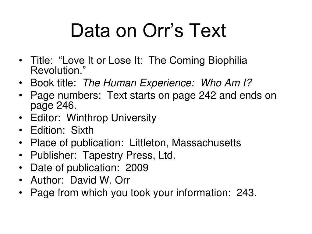 Data on Orr's Text