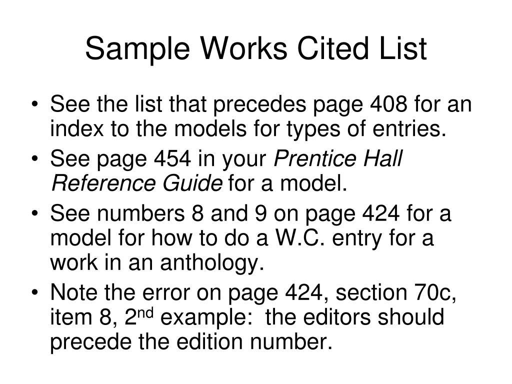 Sample Works Cited List