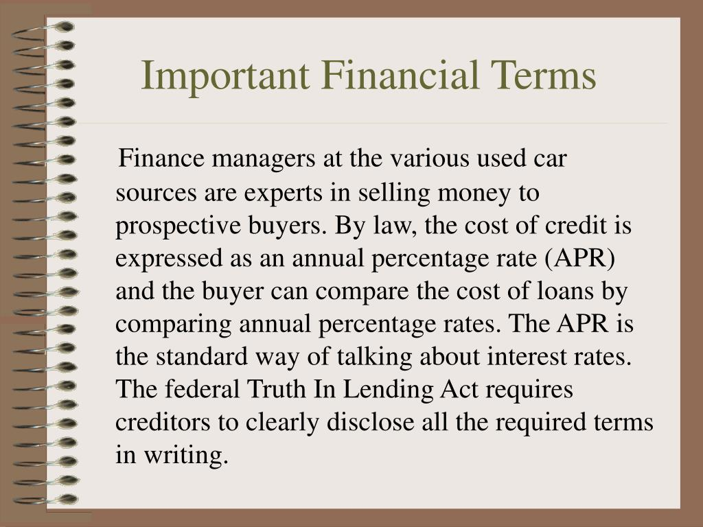 Important Financial Terms