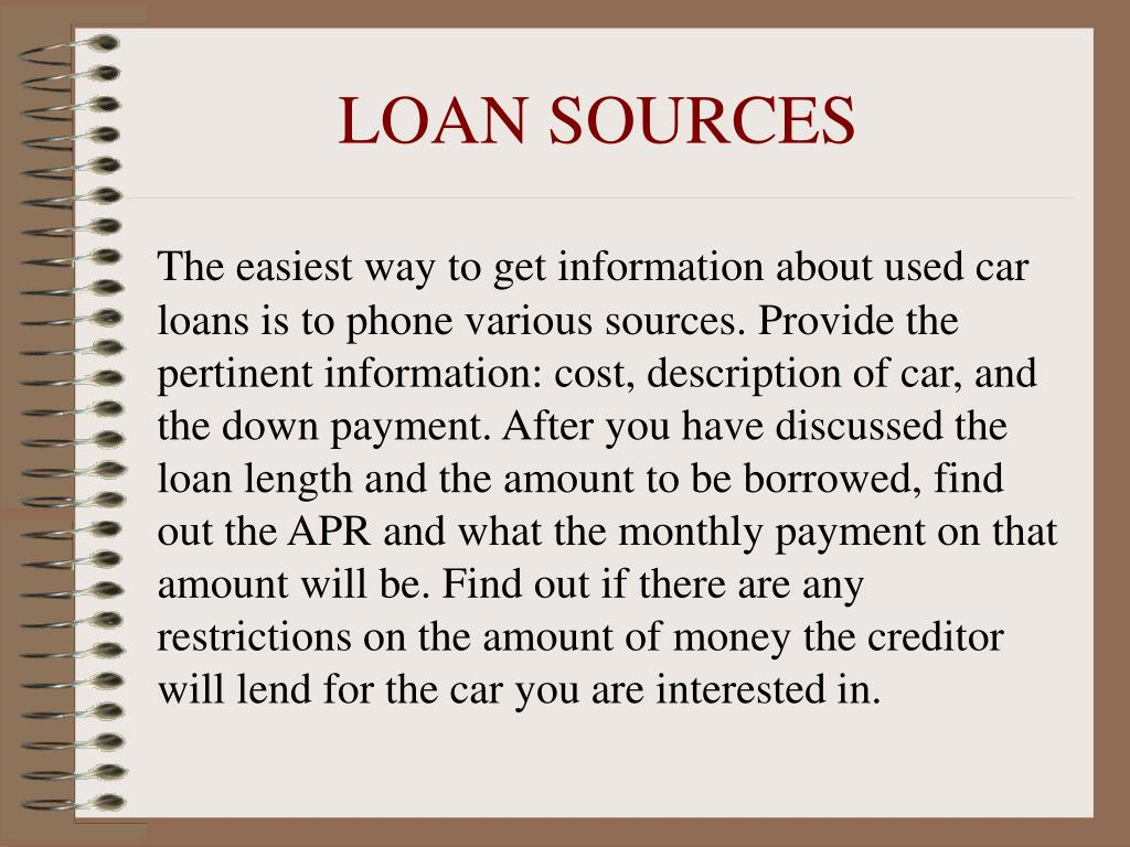 LOAN SOURCES