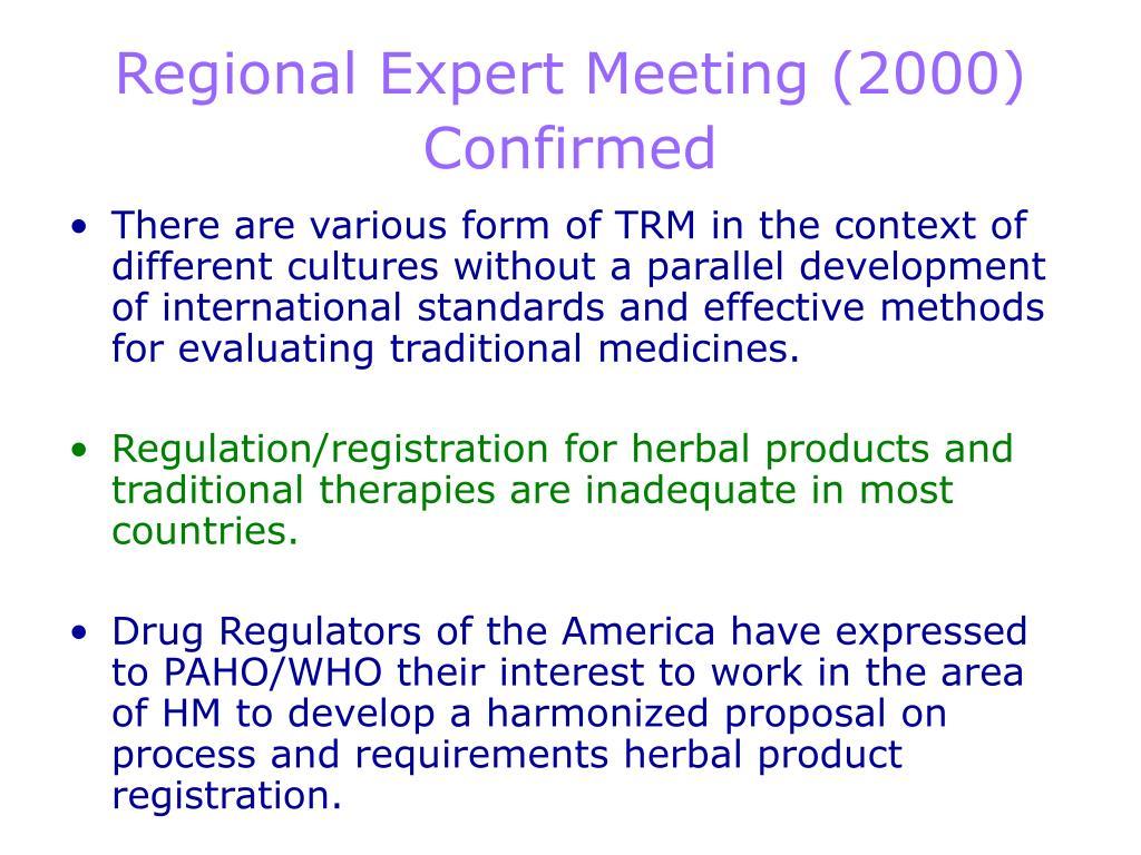 Regional Expert Meeting (2000)