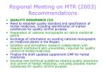 regional meeting on mtr 2003 recommendations17