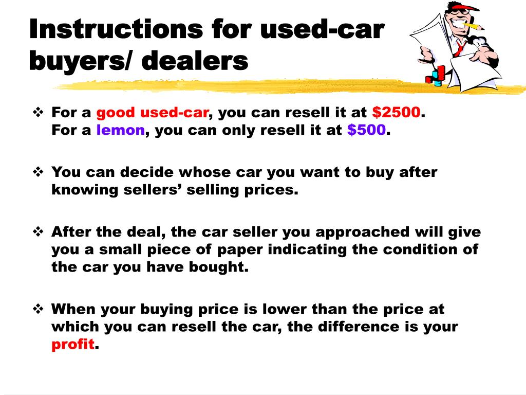 Instructions for used-car buyers/ dealers