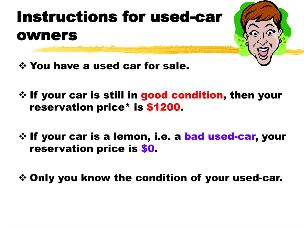 Instructions for used-car owners