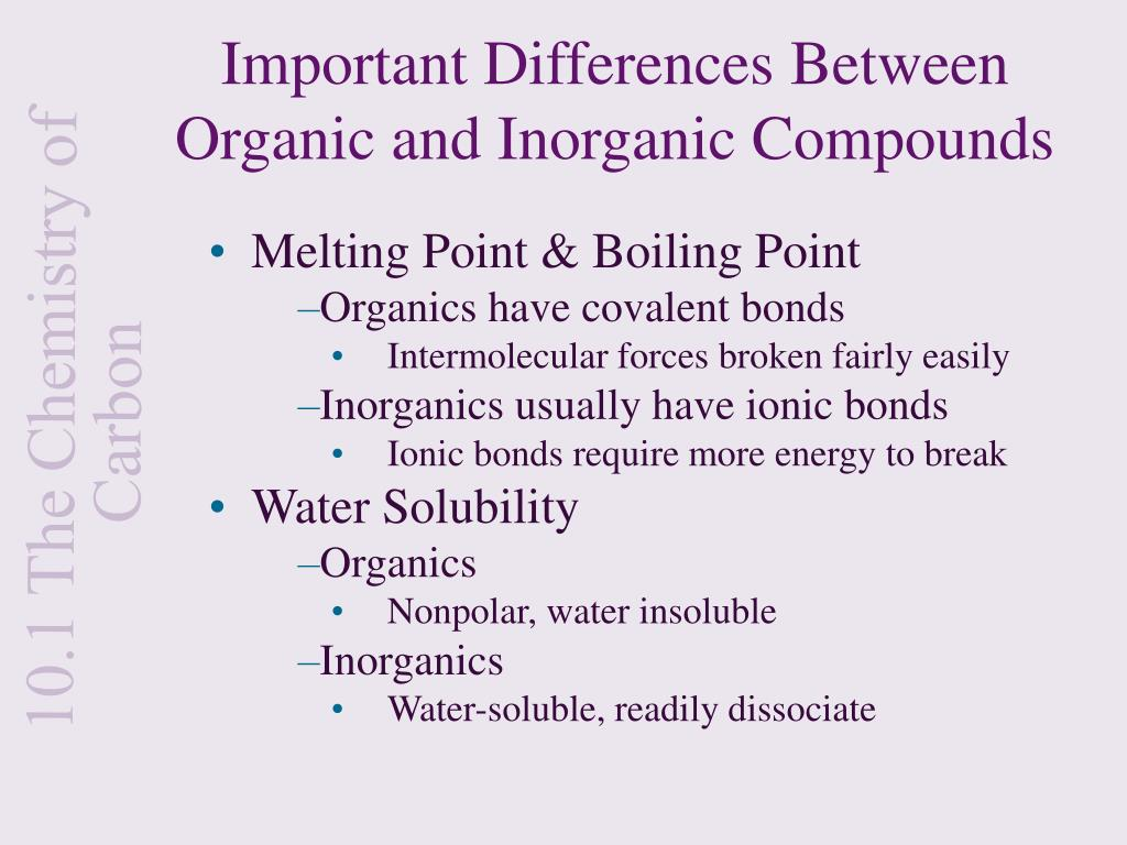 Important Differences Between Organic and Inorganic Compounds